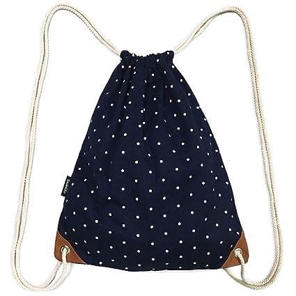 SAMGOO Morral de la manera Bolsas de cuerdas Lienzo Polka dots Bolsa con cordón escuela Stringbag Hipster mochila (Armada)