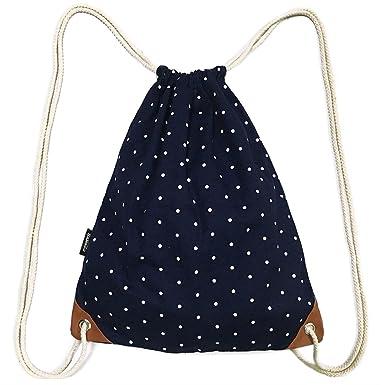 Amazon.com | SAMGOO Drawstring Bag Canvas Lightweight Polka dots ...