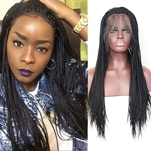 Lace Front Wig #1B Natural Black Half Hand Tied Synthetic Hair Heat Resistant Hair Braided Wigs Free Part with Baby Hair for Black Women (24 inches, Micro Braided,#1B) ()