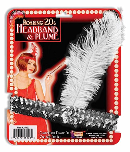 Silver Sequin Flapper Showgirl Vegas Headband with White -