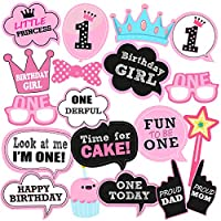 Party Propz 1st Birthday Photobooth for Girls (Multi)-Set of 19 Pieces   First Birthday Photo Props   First Birthday Photo Booth Props   1st Birthday Photo Props   1st Birthday Photo Booth Props Girl