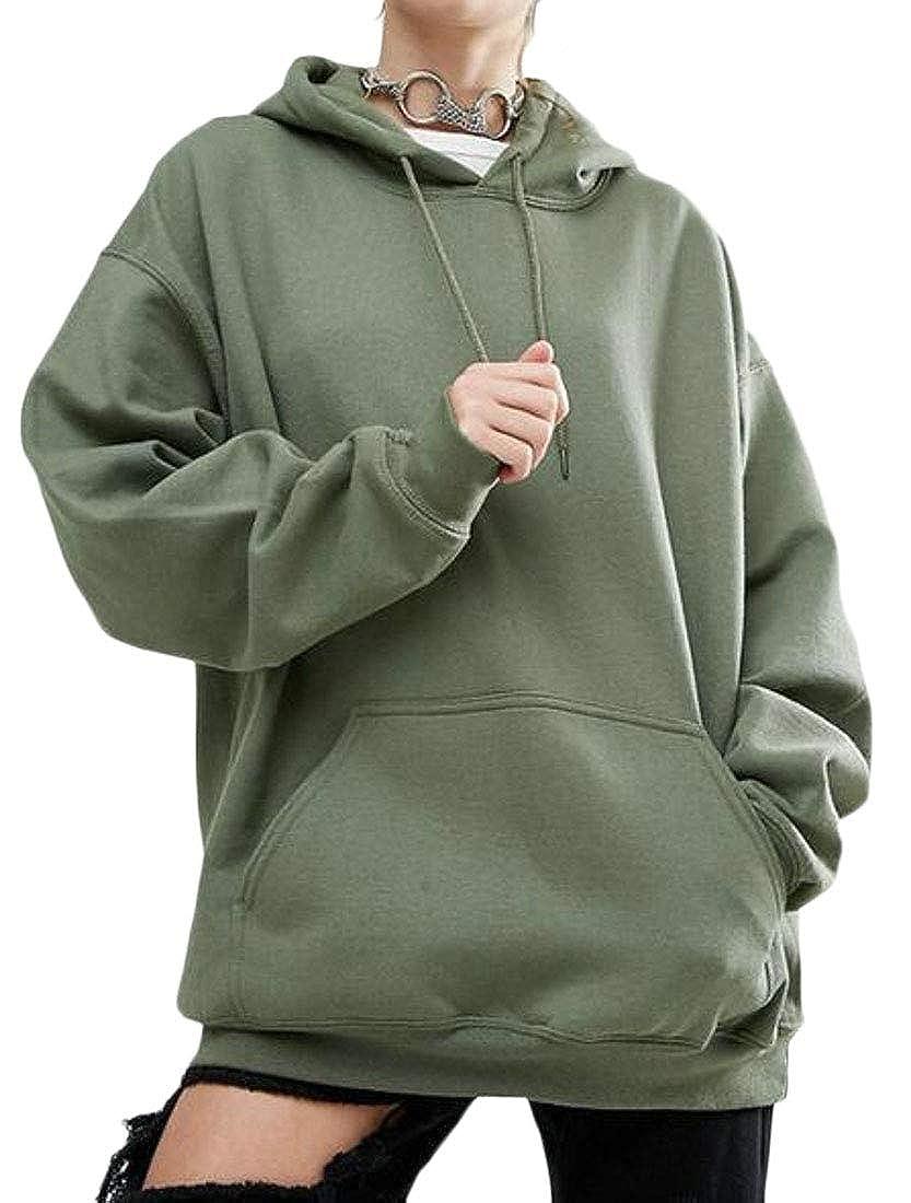 Pandapang Womens Loose Hooded Pullover Pockets Plus Size Sweatshirts Jacket
