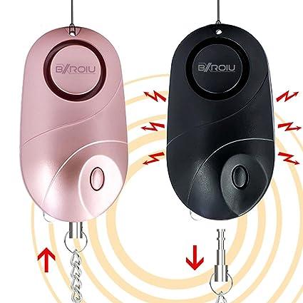 2 alarmas de bolsillo, alarma personal de seguridad y emergencia con sirena de140 decibelios y luces LED, buzzer de prevención del delito para niños, ...
