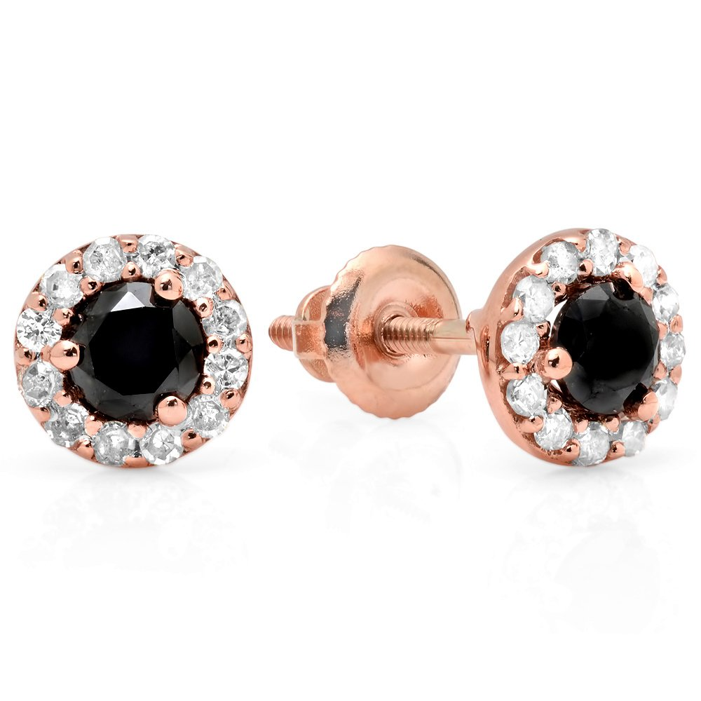 0.60 Carat (ctw) 14K Rose Gold Round Black & White Diamond Ladies Cluster Halo Style Stud Earrings