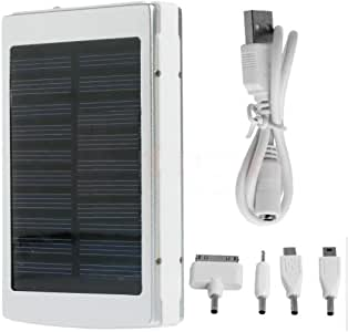 Silver 30000mah Portable Battery Solar Dual USB Mobile Phone External Power Bank
