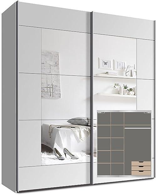Kleiderschrank Schwebetürenschrank, Ca. 200cm, Inkl. 9 Einlegeböden,  Türdämpfer Für 2 Türen