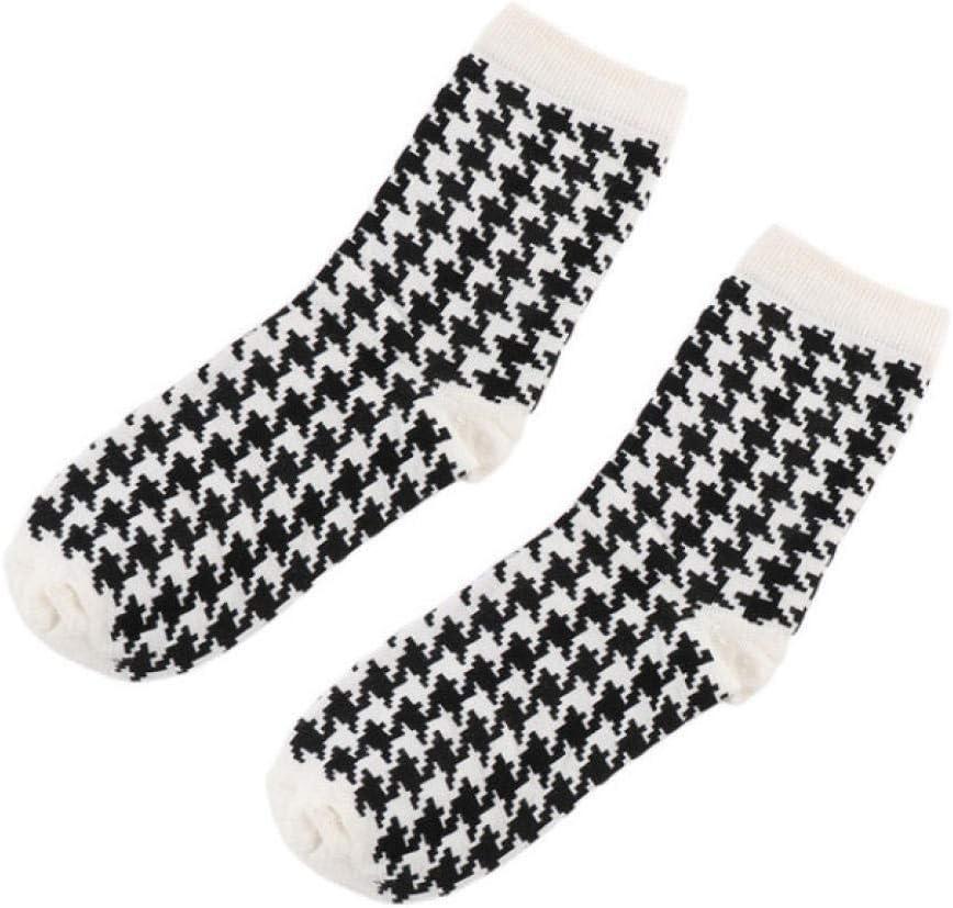 JHSDAB 2 Paires de Chaussettes en Coton de Mode Femmes Hommes Chaussettes imprim/ées en Pied de Poule Casual Printemps Automne Chaussettes Respirantes A1