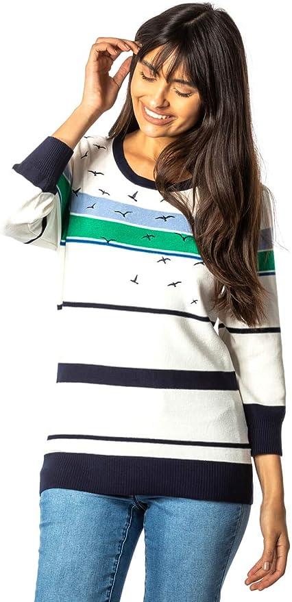 Roman Originals Women Nautical Bird Embroidered Stripe 3//4 Sleeve Jumper