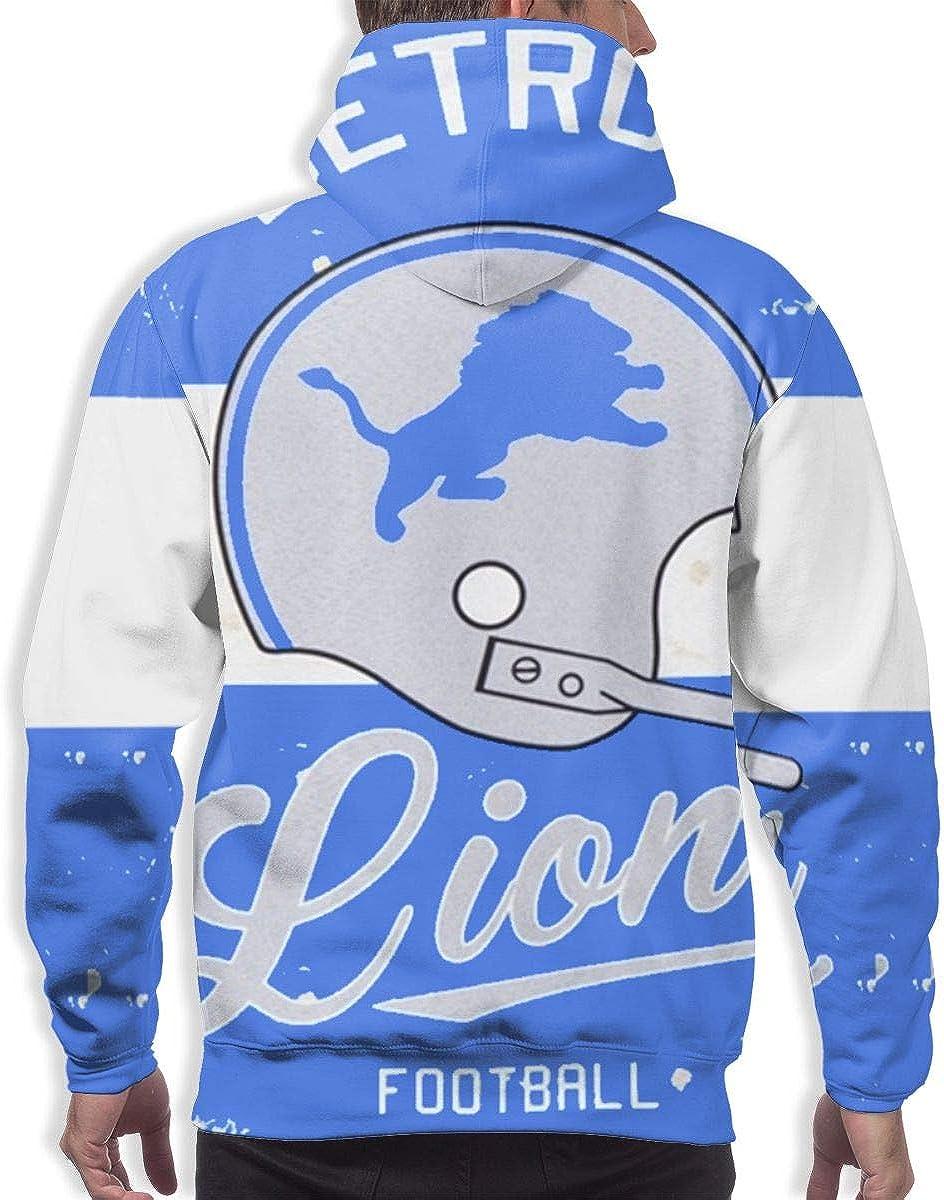 Qinxiaojun Detroit Mens Classic Lions 3D All Print Hoodie