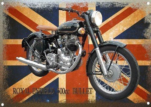 Señ al de metal motocicleta Royal Enfield Bullet VINTAGE SIGN DESIGNS