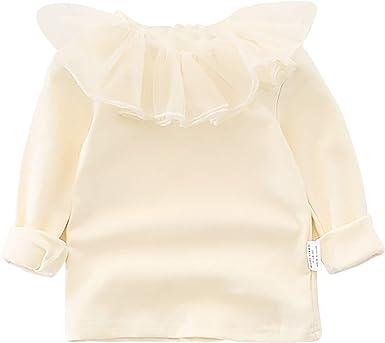 Bebé Infante Niño Niña 100% Algodón Camisetas de Manga Larga con Volante Cuello Moda Suave Lindo - Liso Beige Talla 74/80/86/92/98/104/110/116/122