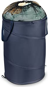 Household Essentials 2039 Pop-Up Laundry Hamper with Handles and Drawstring Closure, Blue