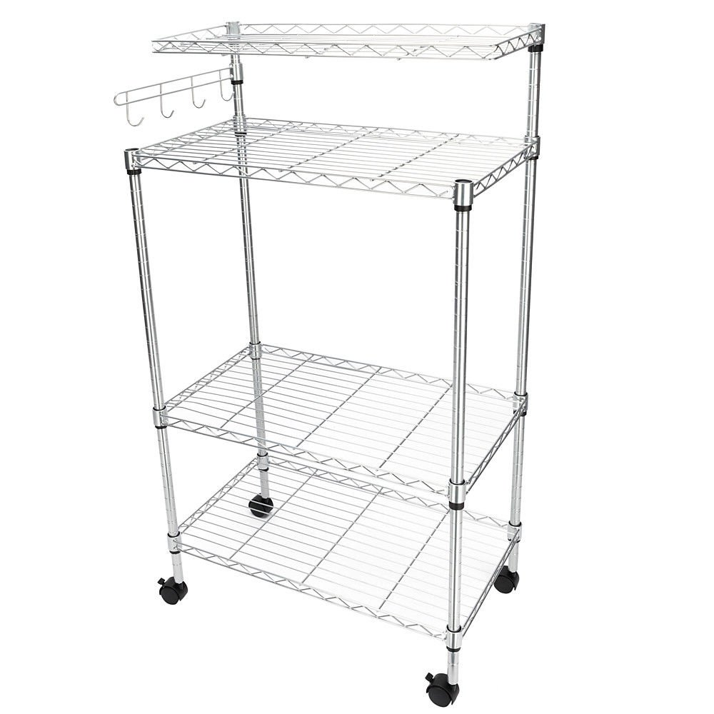 TimmyHouse Bakers Rack Storage Rack Microwave Oven Stand with Hanging Hooks Chrome 4-Tier