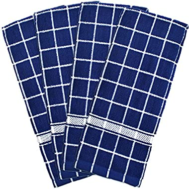 DII 100% Cotton, Machine Washable, Basic Everyday, Terry, Kitchen Dishtowel, Ultra Absorbant, Windowpane Design, 16 x 26  Set of 4- Solid Nautical Blue