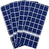 DII Cotton Terry Windowpane Dish Towels, 16 x 26'' Set of 4, Machine Washable and Ultra Absorbent Kitchen Bar Towels-Nautical Blue Check
