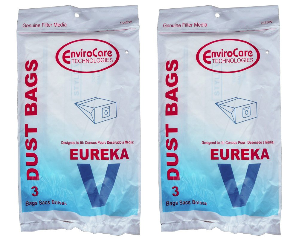 6 Eureka Style V Vacuum Bags, Power Team, Powerline, Canisters, World Vac, Home Cleaning System Vacuum Cleaners, 3800, 3900, 6700, 6800, 6865, 8000, 8200, 8900, 52358, 52358-12, 576898-12 (Filteraire), 54923-10, 6865