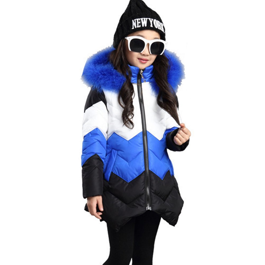 LSERVER Kid Girls Down Cotton Jacket Irregular Thickening Warm Kids Girl Long Winter Coat With Fur Hoodies