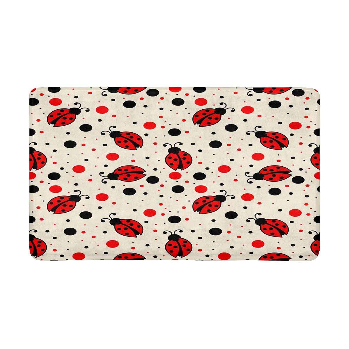 InterestPrint Ladybugs and Dots Indoor Doormat Latex Backing Non Slip Door Mat Entrance Rug 30''(L) x 18''(W)