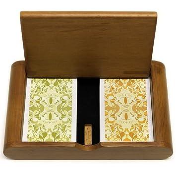 Copag - Juego de caja de madera Misto Saraswati verde/naranja puente Jumbo 100% plástico naipes: Amazon.es: Deportes y aire libre