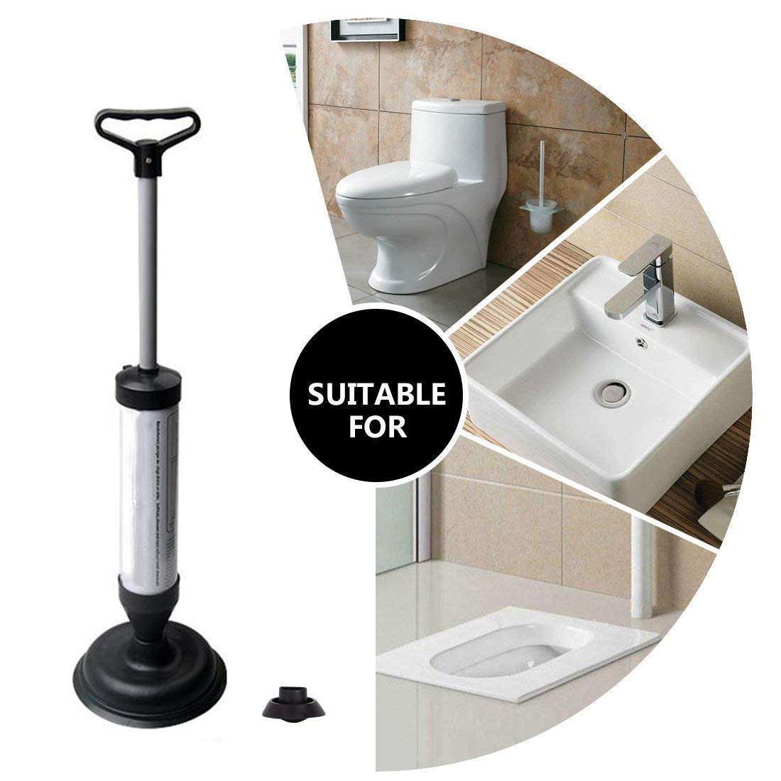 NDYD Pneumatic Drain Cleaner Toilet Dredge Plunger Bottle Opener Kitchen clogged Pipe/Bathtub Sink Cleaning Tools by NDYD