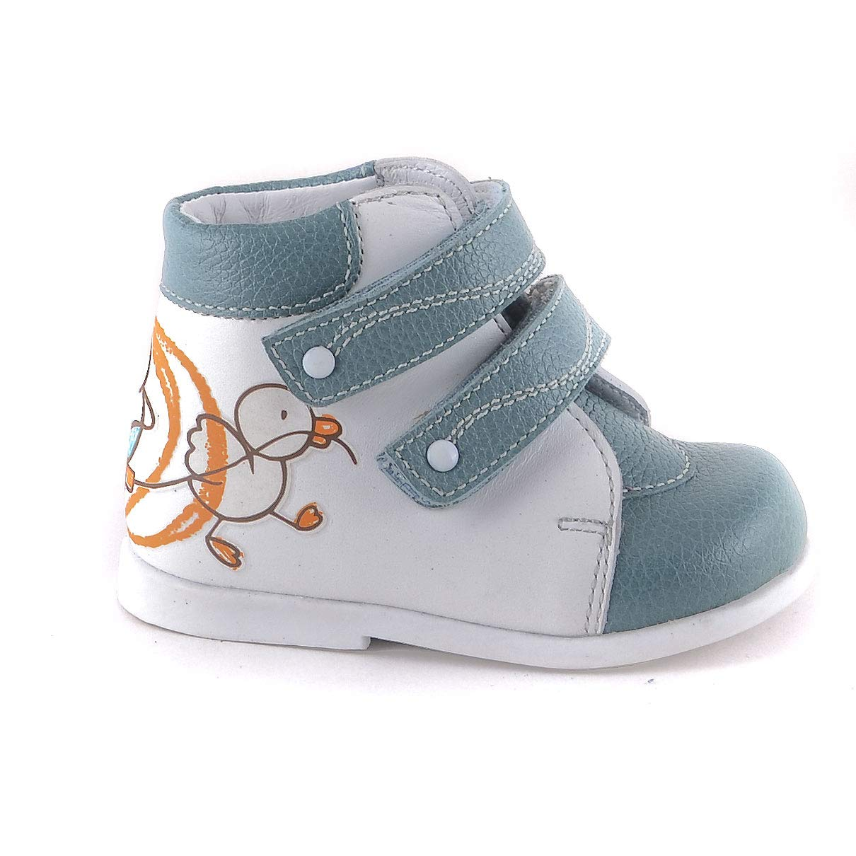 Skorohod Orthopedic Boots First Step for Boys and Girls Genuine Leather 2 Fasteners High Sole