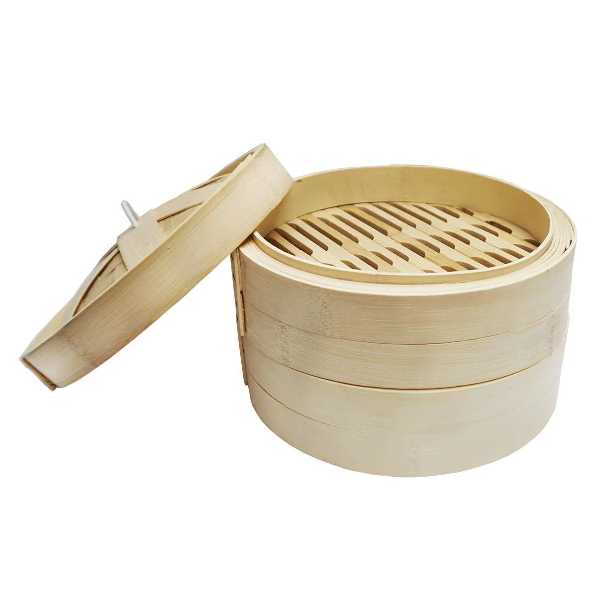 Vaporera de bambú/cestas de bambú/vaporizador de alimentos (9 ...