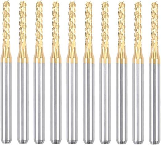 FLY MEN 10Pcs 3.1750.9mm Titanium Nitride Coated Carbide PCB CNC Drill Bits Router