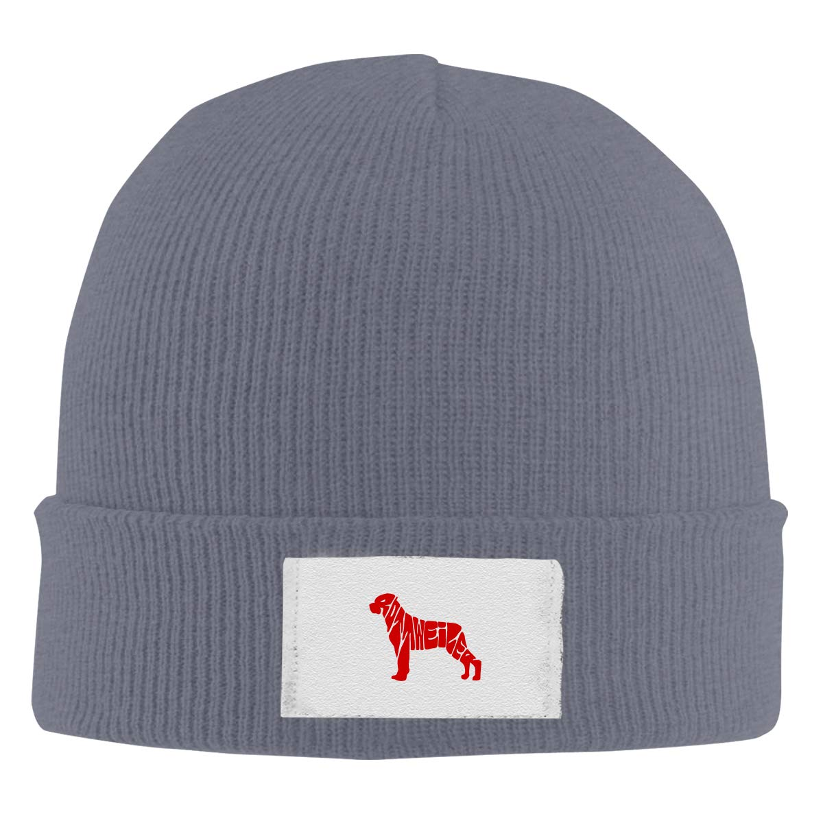 Dunpaiaa Skull Caps Rottweiler Cute Logo Winter Warm Knit Hats Stretchy Cuff Beanie Hat Black