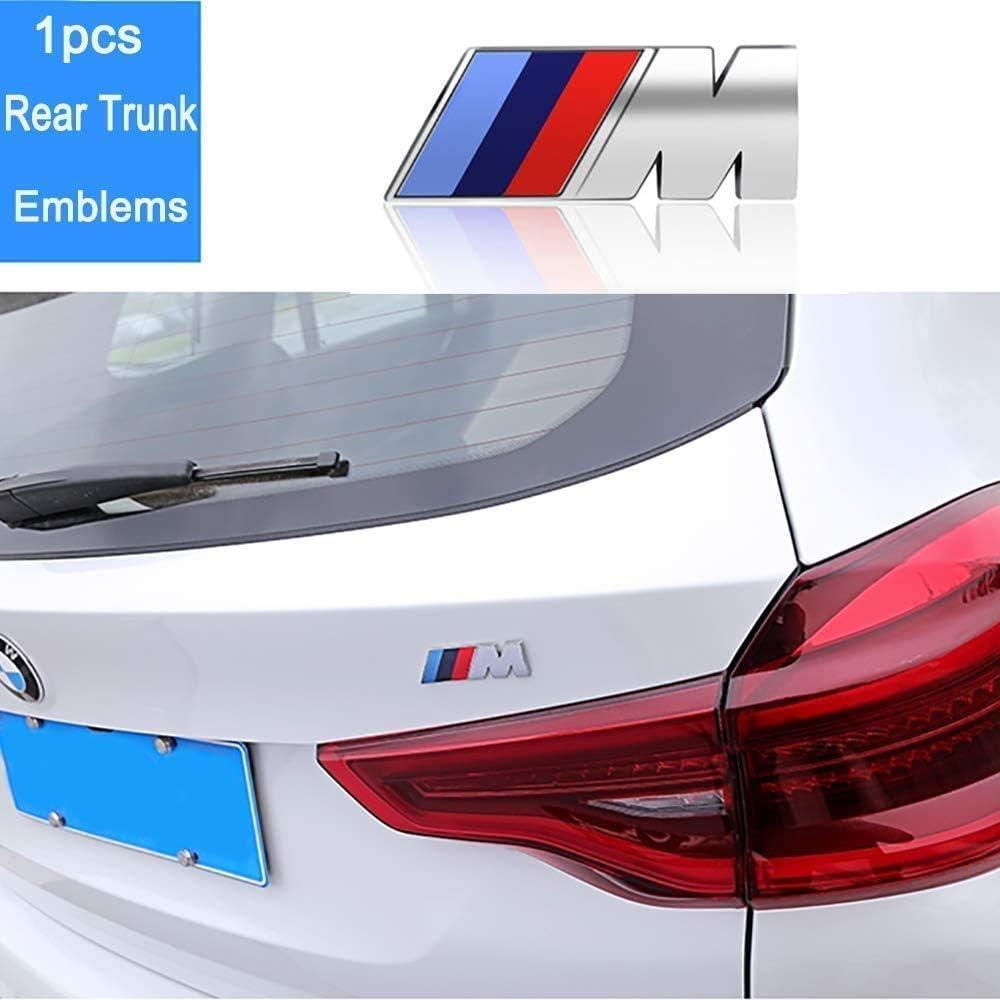 Luckily 3-pcs for B MW M Power Badge Tri Color Rear Emblem Fender Side Emblem Car Decal Logo Sticker for All B MW Accessories(Black)
