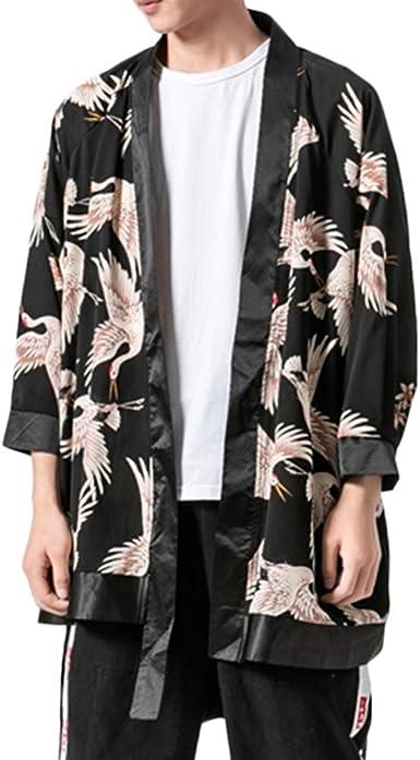 GladiolusA Hombres Vintage Lino Capa Abrigo Japonés Cardigan Kimono Camisa Haori: Amazon.es: Ropa y accesorios