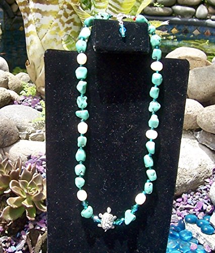 Green and White single strand short length - Necklace Strand Single Turquoise