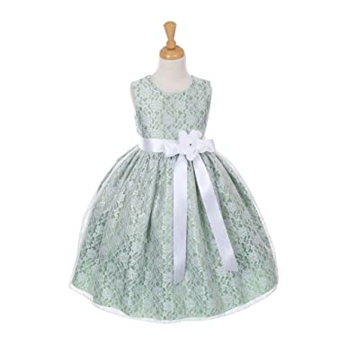 Amazon.com: Cinderella Couture Little Girls Sage Lace White Sash ...