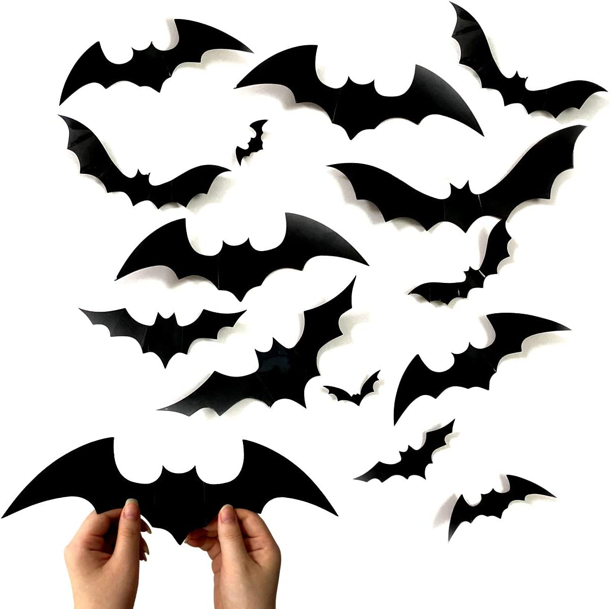 Anditoy 60 PCS Halloween 3D Bats 4 Sizes Scary Bats Wall Decal Stickers Window Clings for Halloween Decorations Outdoor Indoor Halloween Party Supplies