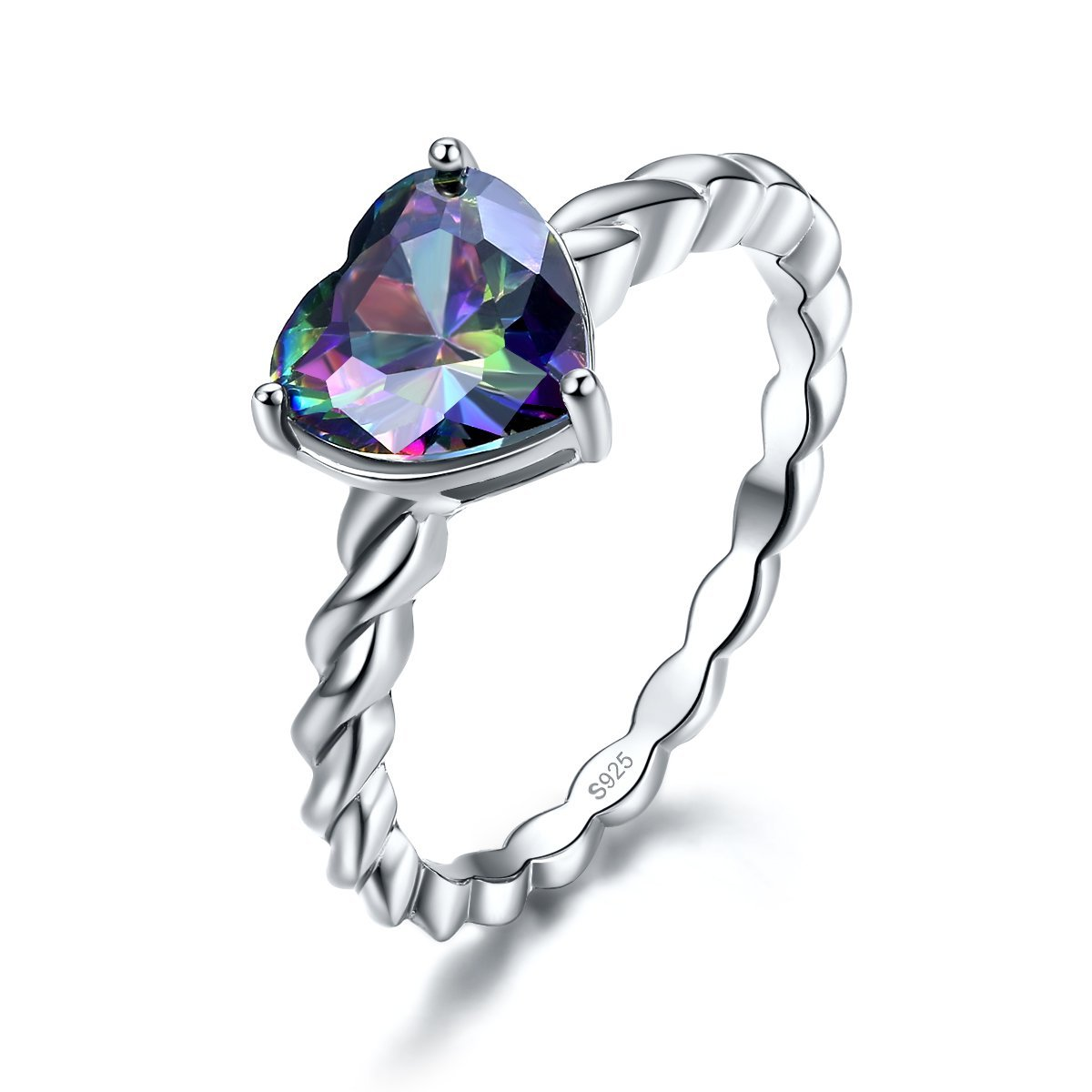 Merthus Womens 925 Sterling Silver Rope Band Created Mystic Rainbow Topaz Heart Ring