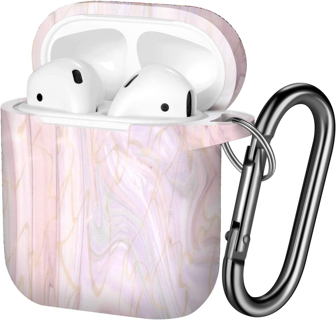 Hamile Compatible with AirPods Case Cute Fadeless Pattern Silicone Protective Cases Cover Skin Designed for Apple Airpod 1 & 2, Women Men, with Keychain (Pink Marble)