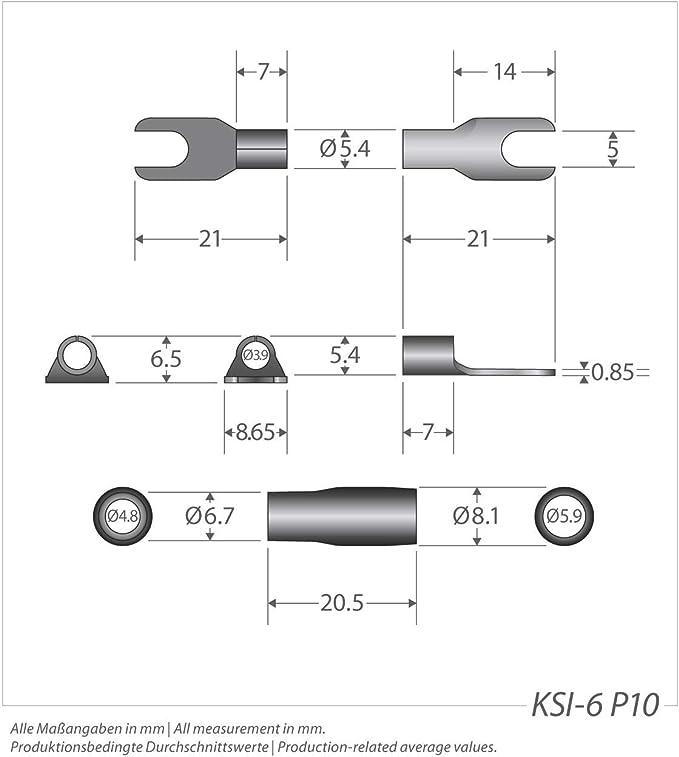 Sinuslive Ksi Gabelkabelschuhe 6 0mm 10 Stück Auto
