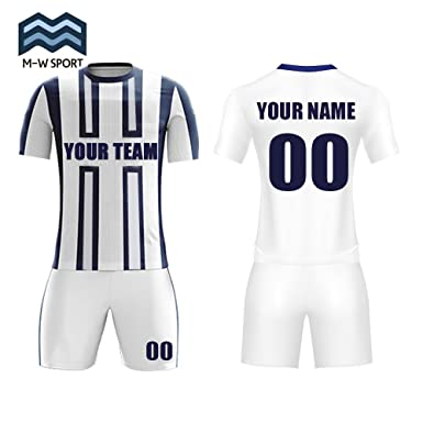 00238911d2a4d Amazon.com: M-W Sports Blue and White Soccer Uniforms Custom Team ...