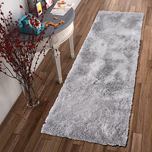 Shimmer Shag Silver Grey Solid Modern Luster Ultra Thick Soft Plush Plain Area Rug 2 x 7 ( 2'7