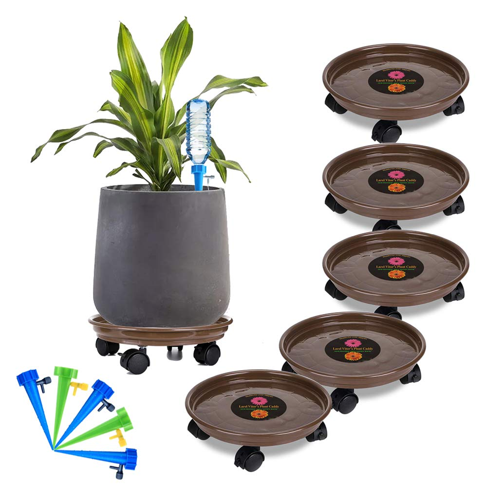 Murilan 5 Pack Plant Caddy Heavy Duty, Potted Plant Stand with Wheels, Round Flower Pot Mover, Rollers Dolly Holder Indoor Outdoor Rolling Tray Coaster,Brown by Murilan