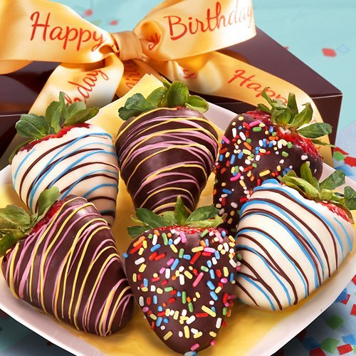 Golden State Fruit 6 Piece Happy Birthday Chocolate Covered Strawberries (Fruit Chocolate Delivery)