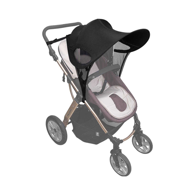 YISSVIC Parasol de Cochecito Sombrilla para Sillas de Paseo Universal para todos los Carritos de Bebe Contra UV - Negro Earthly Paradise