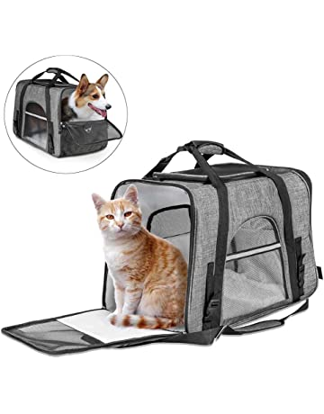 96a5a5aedaf CLEEBOURG Fashion Pet Carrier Bag, Large Dog Cat Travel Carrier Bags  Lightweight Collapsible Mesh Soft