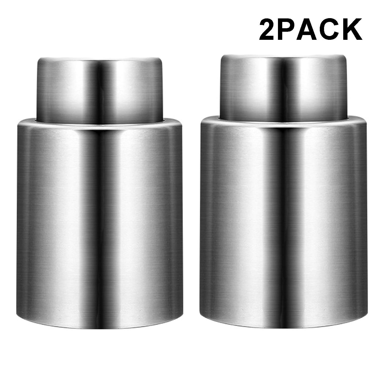 Wine Stoppers with Vacuum, Stainless Steel Wine Saver Pump with Silicone, Durable Vacuum Bottle Stoppers, Air Tight Wine Sealer (Set of 2) by HYZ