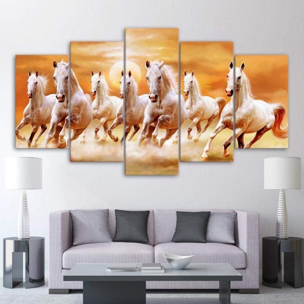 XXQBH 150 * 100 CM Animal negro y marrón carreras de caballos Cuadro de pintura al óleo de con estampado moderno de 5 paneles, Cuadros de decoración, lienzo, arte de pared para sala de estar