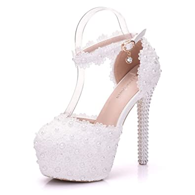 White Lace Wedding Heels Sandals Thin High Heels Sandals Round Toe Platform  Sandals for Women (. Roll over image to zoom in. Crystal Queen 974350707c28
