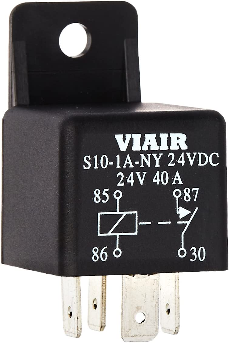 Viair 93943 '40 Amp' 24V Relay with Molded Mounting Tab on pilot relay wiring diagram, 5 pin relay wiring diagram, msd relay wiring diagram, superwinch relay wiring diagram, ford relay wiring diagram, bosch relay wiring diagram, compressor relay wiring diagram, hella relay wiring diagram,