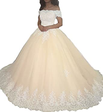 ZVOCY Womens Ball Gown White Lace Applique Quinceanera Prom Dresses Cap Sleeve Wedding Bridal Gown Champagne