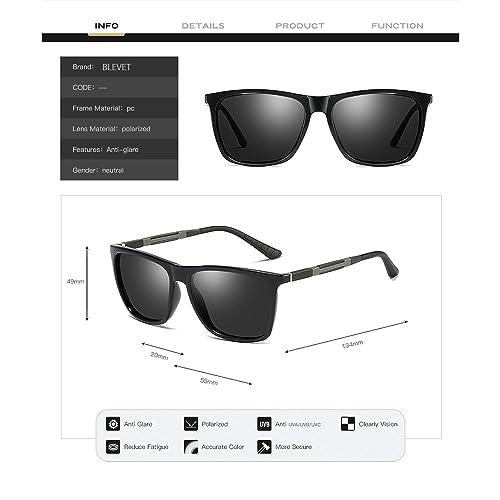 d64f546be30 Amazon.com  BLEVET Unisex Polarized Aluminum Sunglasses Vintage Sun Glasses  for Men Women BL053 (Bright Black-Blue)  Shoes