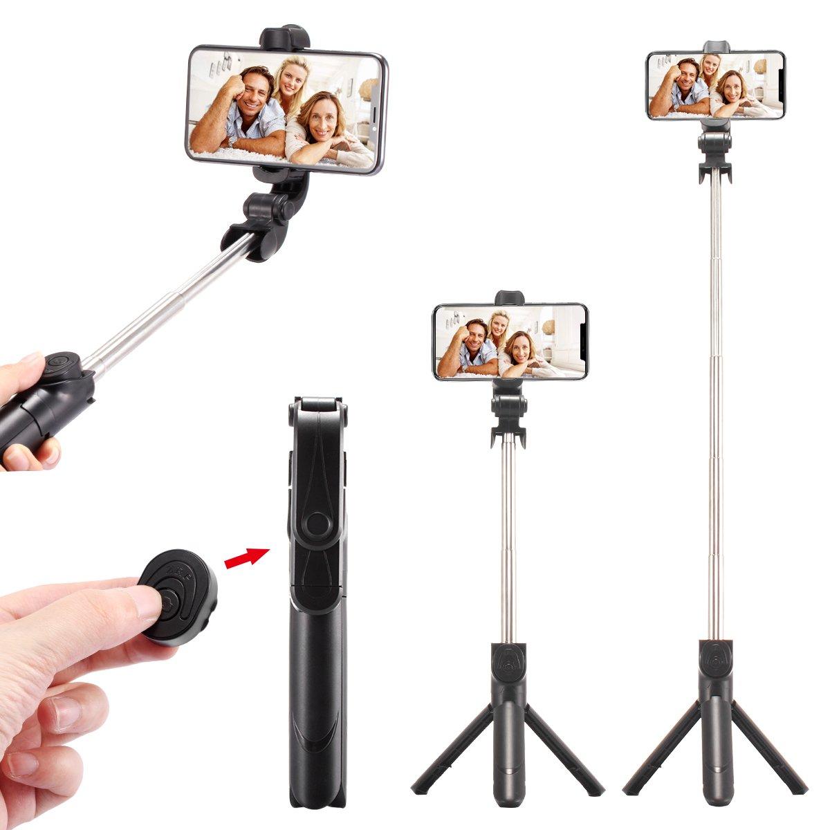 WONGYEAH Bluetooth Selfie Stick Tripod Extendable Selfie Stick with Wireless Remote for iPhone X/8/8 Plus/7/7 Plus/6S/Galaxy S9/S9 Plus/Note 8/S8 /S8 Plus/Google Pixel & More (Black)