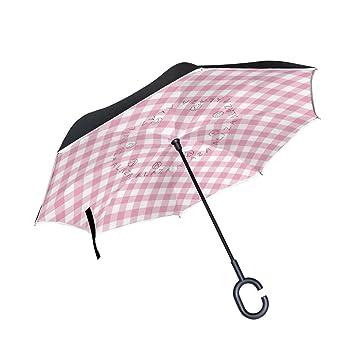Mi Diario Doble Capa Paraguas invertido coches Reverse paraguas rosa cuadros plaid checkered resistente al viento